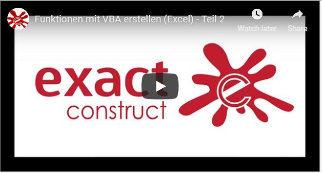 Funktionen mit VBA erstellen - teil 2